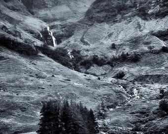 Glen Coe - Black and White, Scotland, UK, Landscape, Nature, Hills, Scottish Scenery, Noir, Fine Art Photography