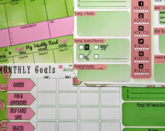 Watermelon Printable Planner, Daily, Weekly, Monthly Planner, To Do Lists, Undated Planner, Office Management, Home Management, Calendars