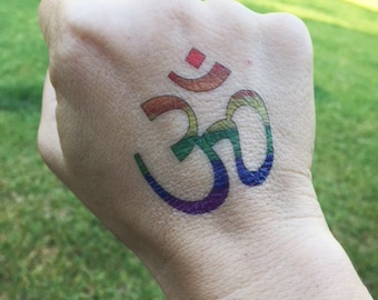 Rainbow Om (Aum) Symbol Temporary Tattoo