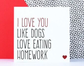 Funny dog anniversary love card for boyfriend
