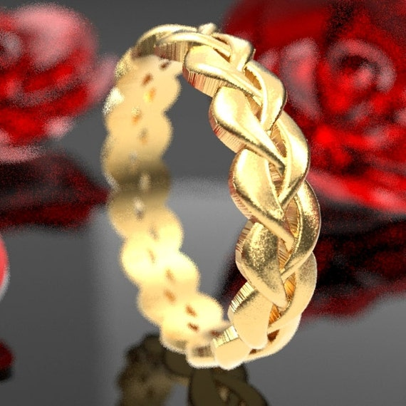 Gold Celtic Braided Wedding Ring Design in 10K 14K 18K or Palladium, Made in Your Size CR-1058