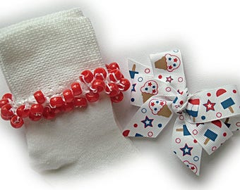 Kathy's Beaded Socks - Americana Ice Cream and Popsicles Socks and Hairbow, girls socks, red socks, pony bead socks, school socks