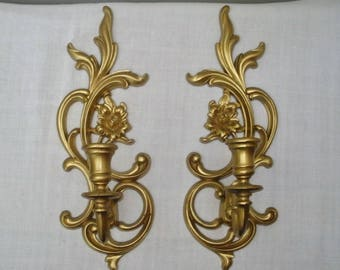 Vintage Syroco Pair of Wall Candle Sconces