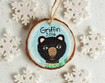 Christmas Bear Ornament, Baby Boy Ornament, Woodland Ornament, Personalized Ornaments for Kids, Custom Name Ornament, Wood Animal Ornament