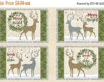 20% off thru Apr 24th CHRISTMAS fabric panel HOLIDAY MEADOW makes set of 4 placemats- by Wilmington Fabrics- 24 by 44 inches-reindeer