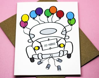 Just Married Wedding Bridal Shower Car Greeting Card
