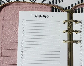Printed Wish List Personal Size Planner Inserts