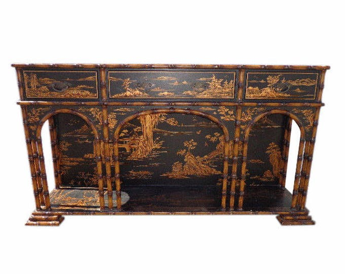 Featured listing image: Console Table Vintage Sarried Furniture Asian Inspired Chinoiserie Cabinet Chest Chinese Carved Wood Campaign Style Regency Glam Entry Way