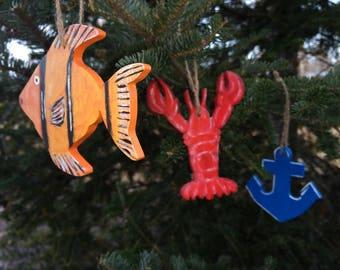 Set of 40 Beach Ornaments - Beach Ornaments - Seashore Ornaments - Nautical Ornaments - Hand Painted Ornaments - Beach Decor - Beach Gift