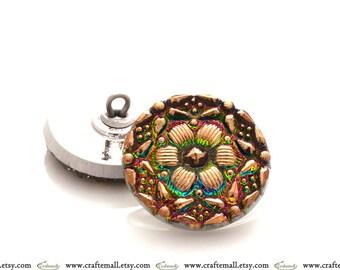 Handmade Czech glass button - 23mm pink and gold flower button - IG748/10