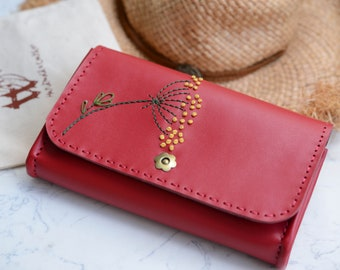 Handmade leather wallet - Floral wallet