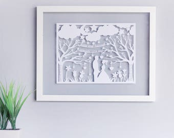 First Wedding Anniversary Gifts For Her - 1st Anniversary Gifts -  Paper Cut Portrait - First Anniversary Gifts - Paper Anniversary