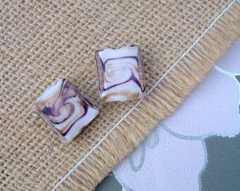 Set of 2 beads MURANO style rectangular white 16x14mm