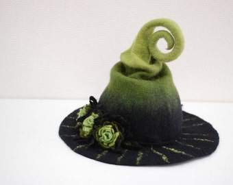 Witch wizard hat with flowers felted from wool black and green  Halloween costume CUSTOM MADE choose your own colors
