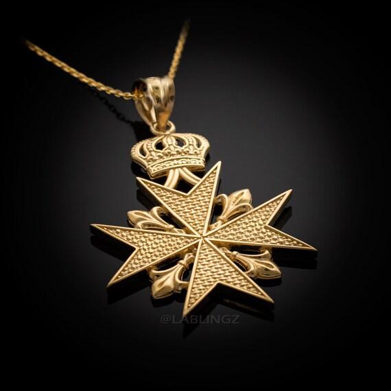 Gold imperial crown maltese cross fleur de lis pendant gold imperial crown maltese cross fleur de lis pendant necklace yellow white rose gold aloadofball Choice Image