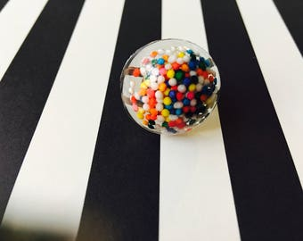 Sprinkles Dome Adjustable Ring Resin Candy Colorful Handmade Jewelry