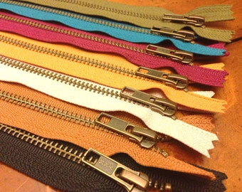 Antique brass 9 inch zippers, Seven pcs, YKK colors 580, 572, 907, 888, 848, 086, 525, black, beige, brown, gold, peacock, wine, dark olive