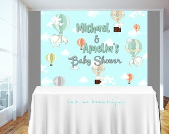 Candy Table Backdrop, Baby Shower, Birthday Party, Hot Air,Elephant, Flowers, elephant hot air balloon, Elephant Themed Baby Shower