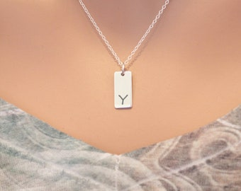 Initial Y Necklace Sterling Silver, Initial Y Bar Necklace, Letter Y Necklace, Letter Y Bar Necklace, Silver Y Initial Necklace, Y Initial