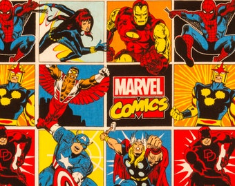 Marvel Comics craft cotton print - Iron Man, Spider-Man, Thor, Captain America - 100% cotton