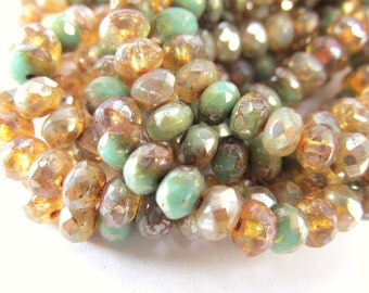 Champagne Green Czech glass 5mm x 3mm faceted rondelle jewelry beads (30)