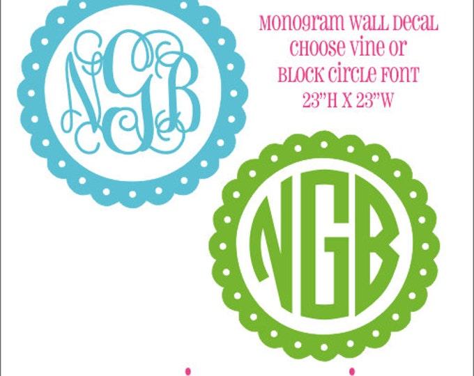 Monogram Wall Decal Vinyl Wall Decal Monogram Decal Vine Monogram Block Circle Monogram Preppy Wall Decal Personalized Decal Girls Nursery