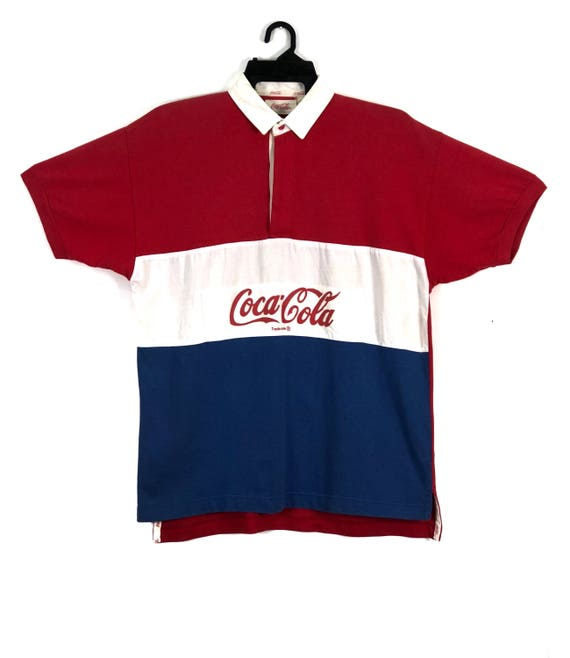 Coca Cola Shirt Button Up Striped Red White Color Big Logo Streetwear Clothing Chest 19.5 OzC9L