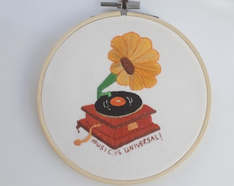 Hand Embroidered Wooden Gramophone Hoop Art, Wall Art Hanging, Home Decor, Musician Gift, Music Art, Sunflower Decor