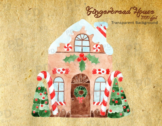 Gingerbread House Watercolor Clip Art Gingerbread Candy
