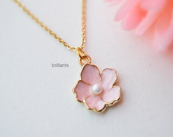 Cherry blossom necklace in gold, Sakura necklace, pink flower, Everyday necklace, Wedding necklace, Bridesmaid necklace, Pearl necklace
