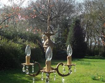 very pretty petite unusual vintage French bronze 3 arm chandelier (P31)