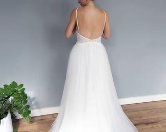 SAMPLE SALE Spaghetti Strap Low Back Lace Boho Style Wedding Dress