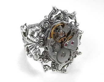 Steampunk Jewelry Ring Vintage SILVER Ornate CITIZEN Watch Movement, Anniversary, Holiday Mens Womens Watch Ring - Jewelry by edmdesigns