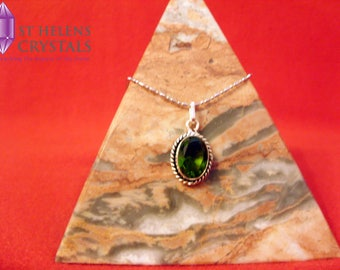 Green Peridot 925 silver plated crystal chakra healing pendant necklace from St Helens Crystals