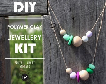 DIY Polymer Clay Jewellery Kit//Polymer clay necklaces//Clay Jewellery Kit - Handmade - White, Emerald & Violet Colourway