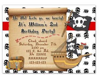 Pirate Invitation (Digital File) - pirate birthday party