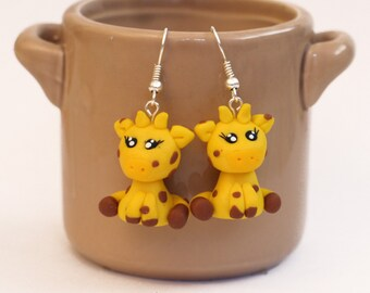 giraffe earrings - polymer clay