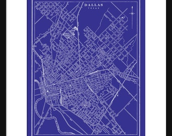 Dallas map etsy dallas map blueprint map poster print vintage malvernweather Image collections