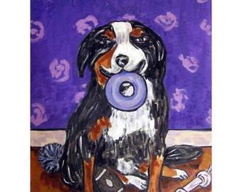 Bernese Mountain Dog With a Dog Toy Art Print 11x14 JSCHMETZ modern abstract pop folk art