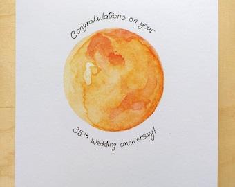 Coral 35th wedding anniversary card