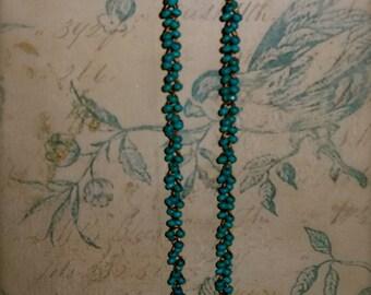BoHo Turquoise Wood Bead Necklace
