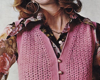 Crochet Vest Pattern, Instant Download, VINTAGE CROCHET PDF, Womens Crochet Top, Crochet Vest, Crochet Pattern, 1970s