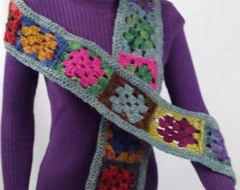 B117 crocheted granny square scarf, multi-colored, hand-dyed Jacob wool yarn