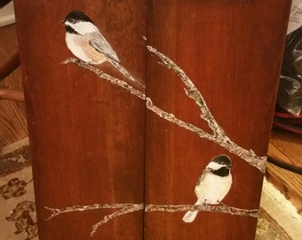 Chickadees on two wood panels