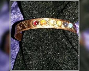 Bracelet with 7 Chakra minerals magnetic copper