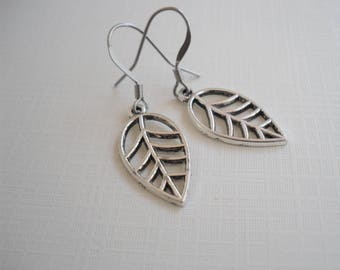 Silver Leaf Charm Earrings - Surgical Steel Wires