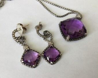 David Yurman earrings with necklace