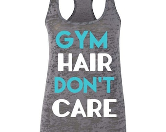 Gym Hair Don't Care Workout Racerback Tank Top Funny Gym Tank