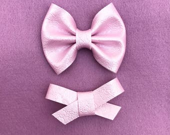 Pink pearl lace vegan leather brooke bow