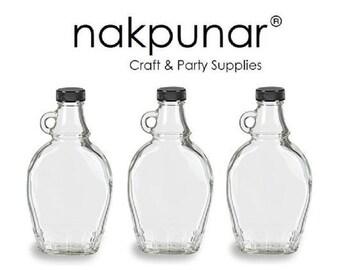 Nakpunar 3 pcs 8 oz Glass Syrup Bottles with Black Tamper Evident Lid